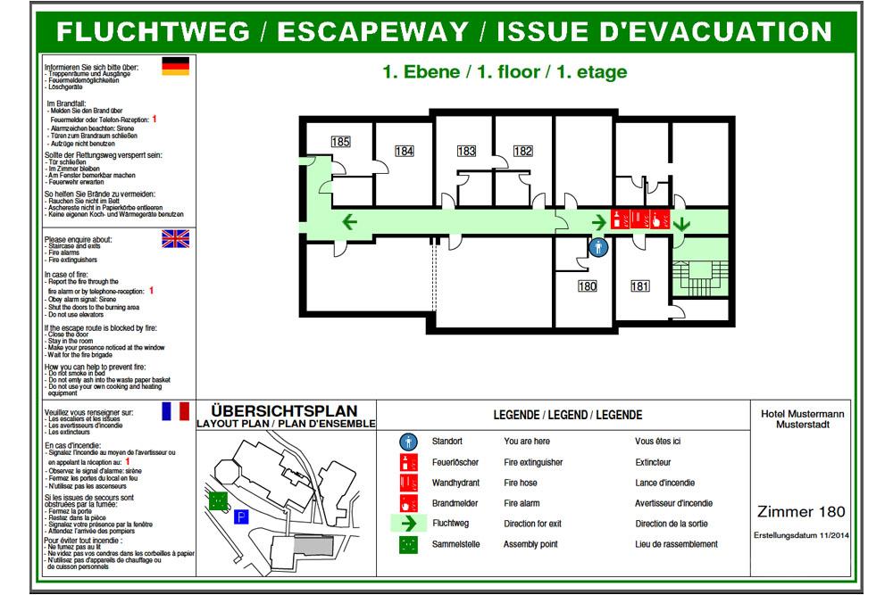 Beratung und Erstellung von Fluchtplänen - Zimmerplan für Hotels