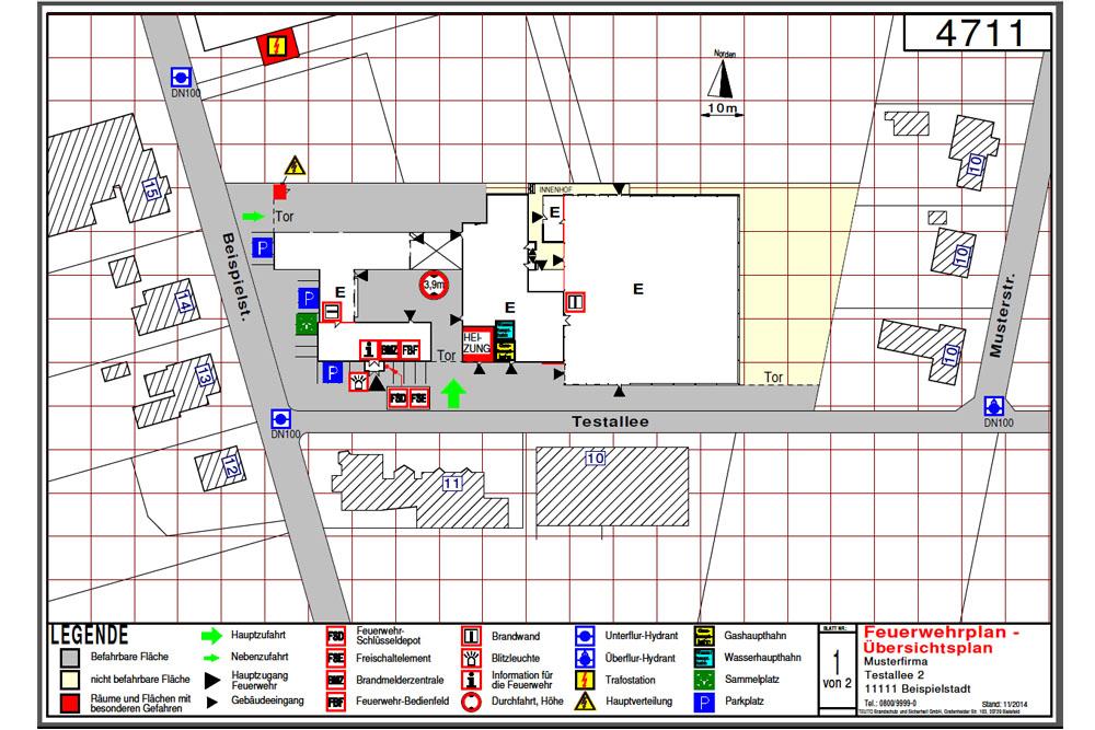 Erstellung von Feuerwehrlaufkarten Übersichtsplan
