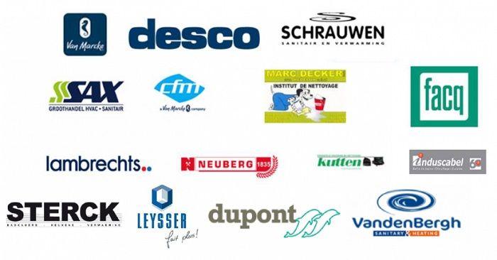 Logo's van dealerlijst groothandel voor architecten en planners