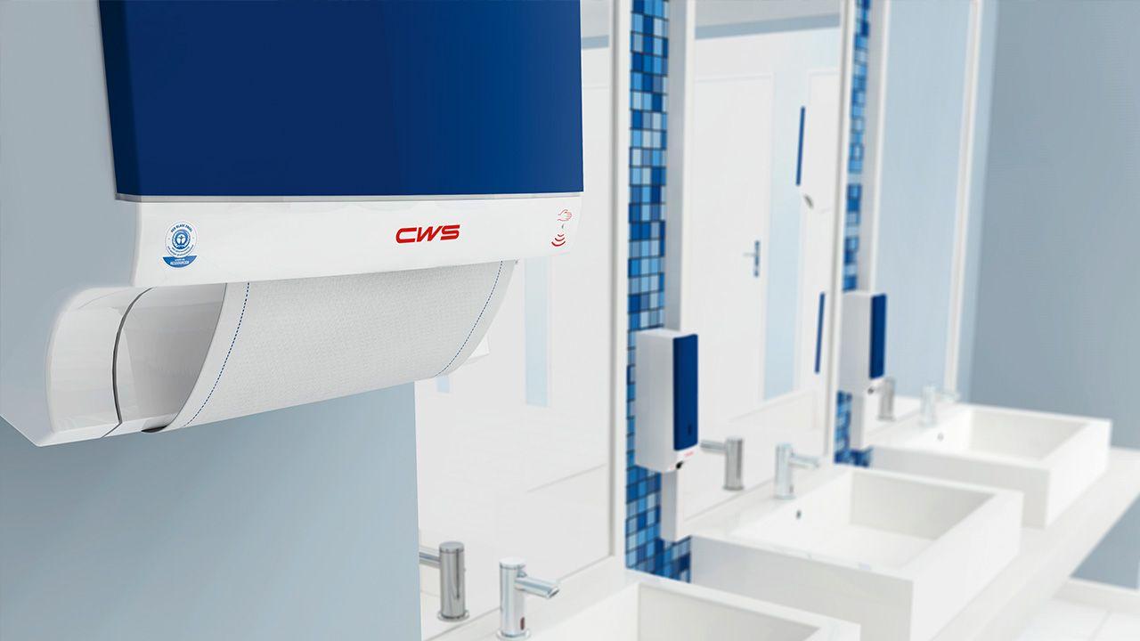 Blauwe handdoekautomaat voor katoen uit de ParadiseLine van CWS