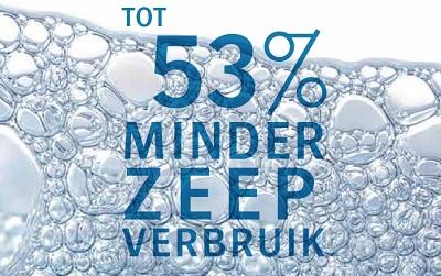 Minder zeep verbruik tot 53%