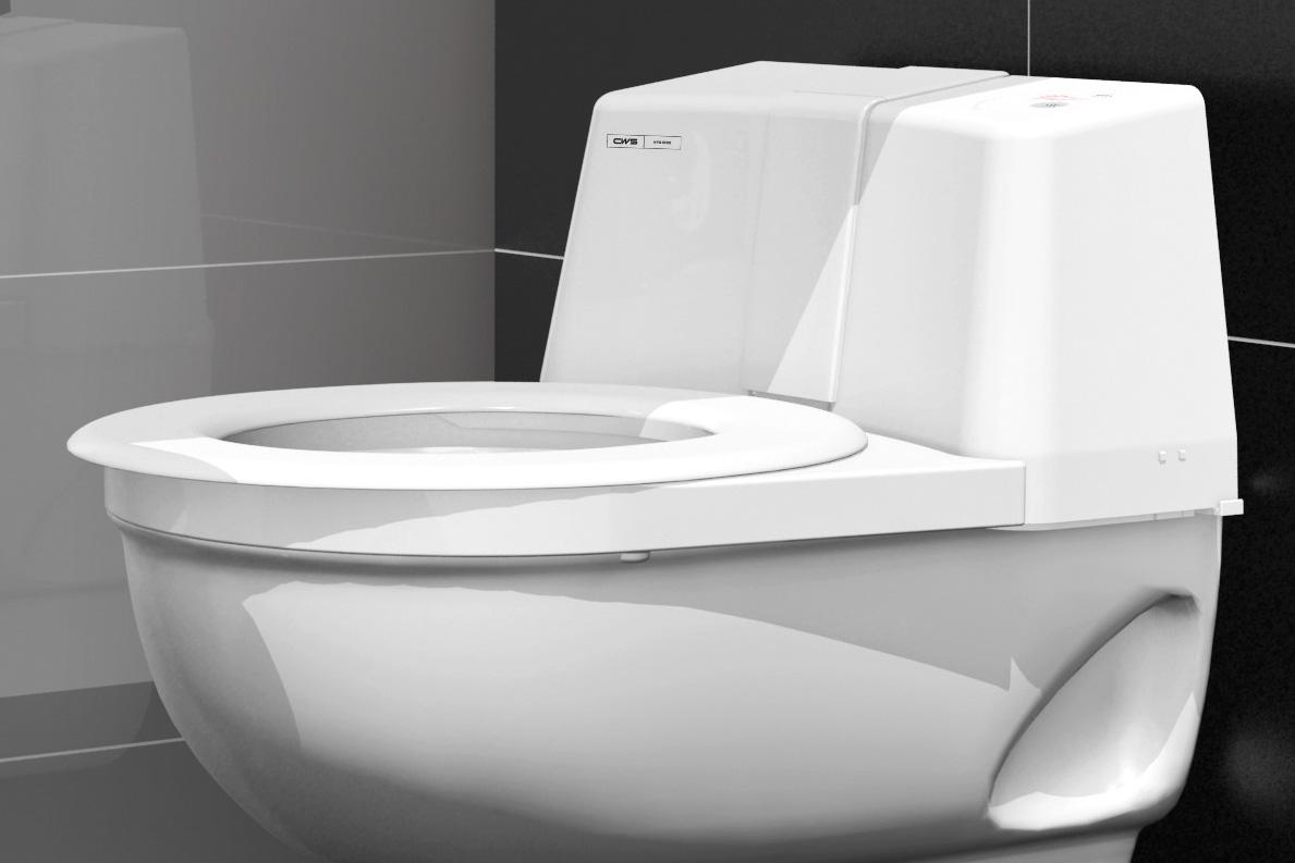 Nahaufnahme einer weißen Toilette mit  Reinigungssystem CWS CleanSeat