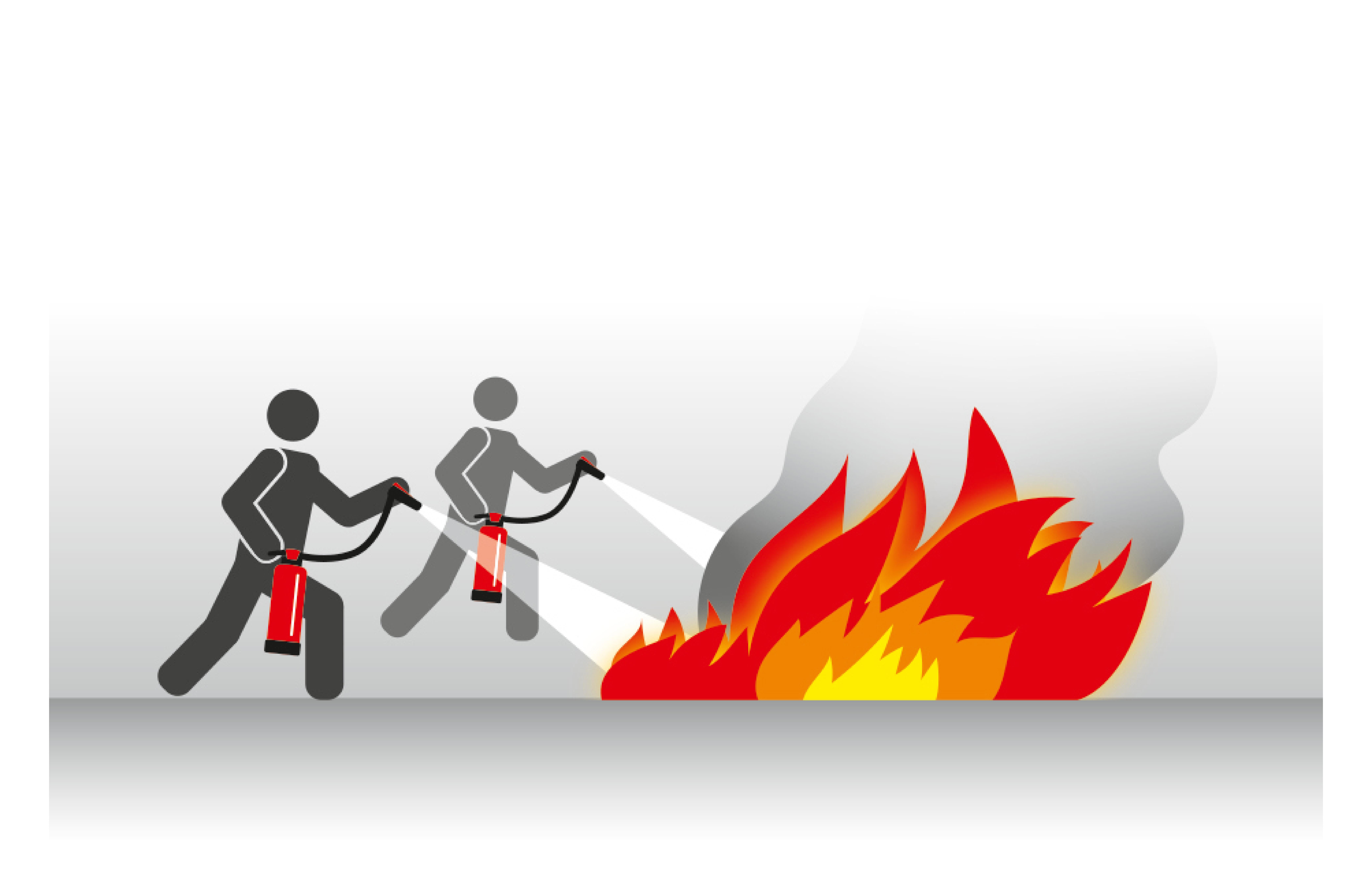 Umgang mit Feuerlöscher gleichzeitig Löschen