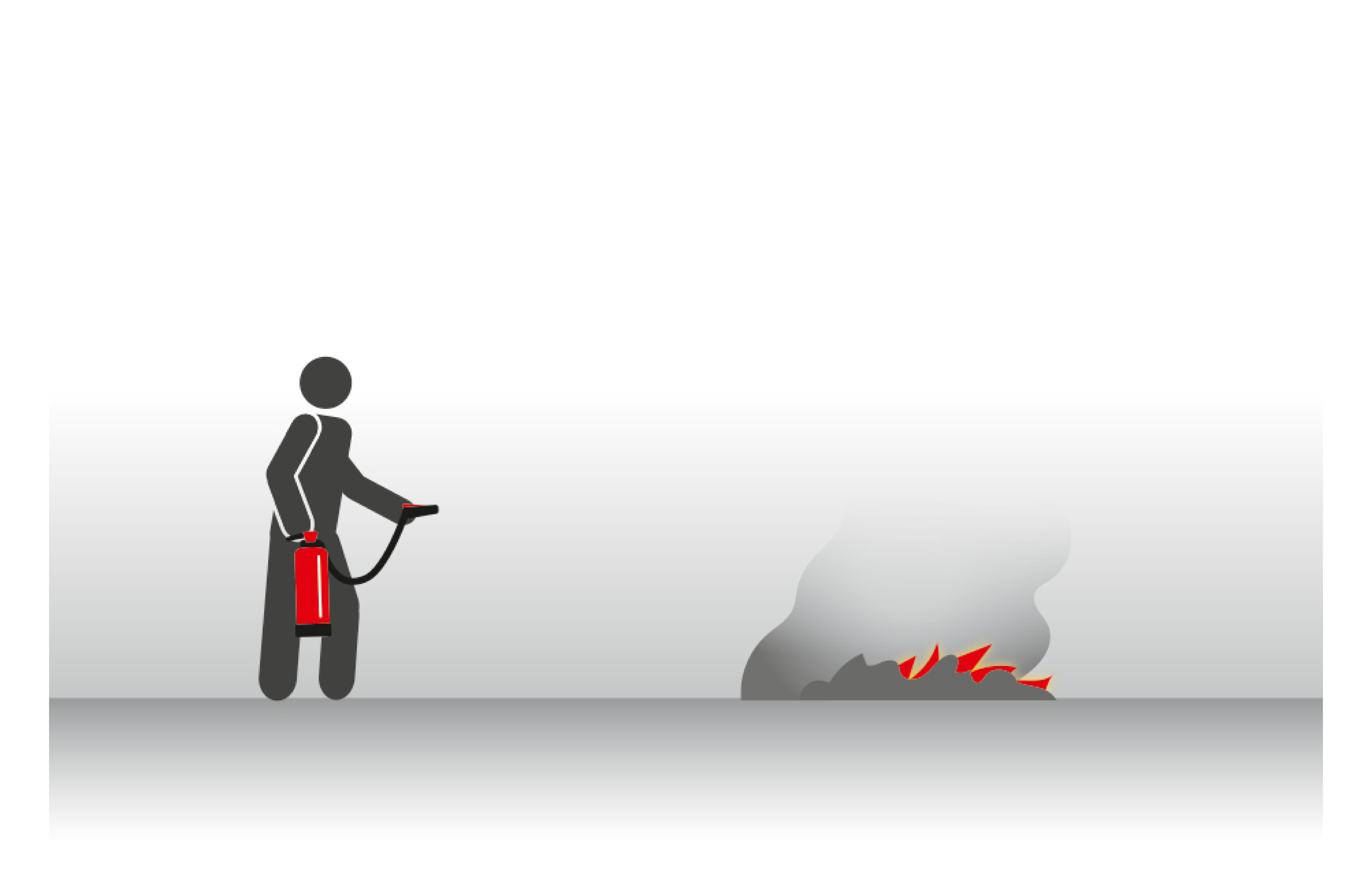 Umgang mit Feuerlöscher Rückzündung