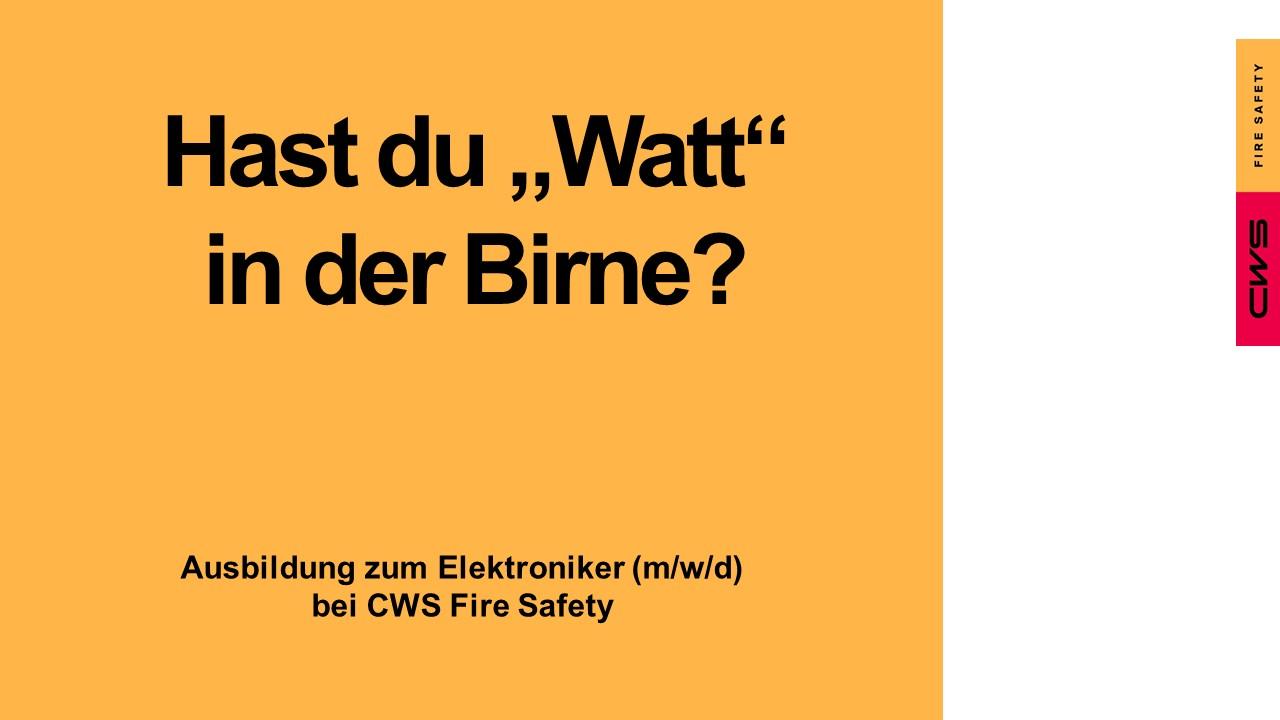 Watt in der Birne - Ausbildung Elektroniker Fire Safety